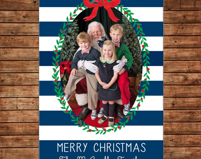 Christmas Holiday Navy Stripe Red Bow Green Wreath Photo Card - Can Personalize - Printable File or Printed Cards