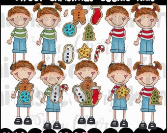 Sweet Christmas Cookie Kids Clipart Collection- Immediate Download