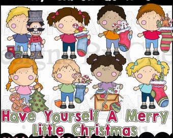 Tiny Christmas Kids Clipart Collection- Immediate Download