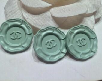 Set of 3 Rare Chanel Light Green Mint Camellia Metal Buttons, 20 mm