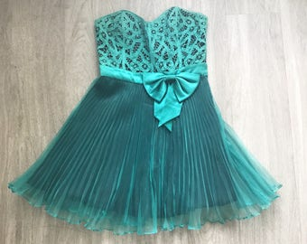 Betset Johnson Teal Crochet Sheer Accordian Bow Mini Strapless Dress 6