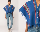 Boho Poncho 70s FRINGE Shawl Striped Jacket Cropped Cape Blanket Hippie 1970s Bohemian Vintage Festival Blue Red Small Medium Large