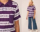 70s Shirt Polo Collared Shirt ELKS Polo Striped Shirt Half Button Up 1970s Nerd Geek Retro Vintage Purple White Large