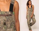 Camo Overalls Pants Hunting Pants Bib LIBERTY OVERALLS Camouflage Army Pants Realtree Grunge Dungarees Streetwear Vintage Large