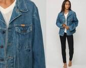 80s Denim Jacket Jean Jacket Blue Trucker Jacket 1980s Vintage Rustler Biker Button Up Hipster Large