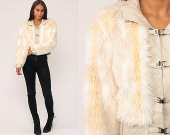 Faux Fur Jacket Fake Fur Coat Winter LEATHER TRIM Vintage 90s Bohemian Furry White Blonde Fuzzy 1990s Bohemian Hipster Boho Small Medium