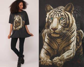 White Tiger T Shirt 90s Animal Tshirt LIGHTNING Shirt Graphic Big Cat Retro T Shirt Screen Print Tee Vintage Black 80s Extra Large xl