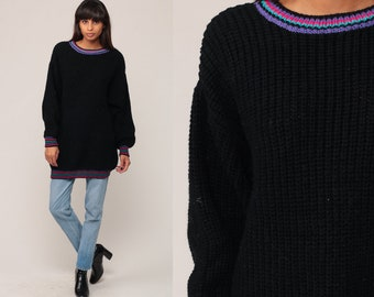 Black Sweater Ringer Sweater 80s Slouchy Knit Pullover Jumper Longline Grunge 1980s Hipster Vintage Normcore Oversize Long Extra Large xxl