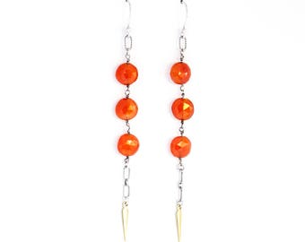 """Burnt red orange dangle earrings hand-wrapped of gorgeous faceted carnelian stone beads and accented by a brass spear - """"Phoenix Earrings"""""""