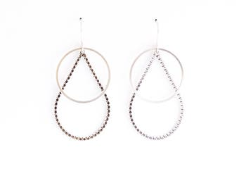 """Beaded raindrop and plain circle shape combined for striking visual effect in this lightweight pair of dangles - """"Drops + Circles Earrings"""""""