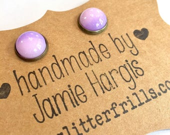 Lavender fields stud earrings. Purple earrings. Glittery earrings. Resin stud earrings. Gifts under 10. Gifts for girls.