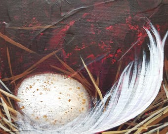 Swallow Egg Painting - Egg and Feather Painting - Daily Painting - Original Art