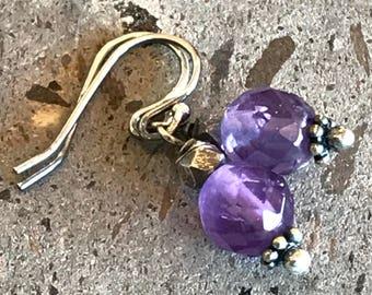 Amethyst Earrings, Wire Wrapped Earrings, Purple Drop Earrings, Tiny Minimalist Earrings, Purple Stone Earrings, Aquarius Birthstone Jewelry