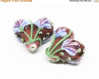 20% OFF LOOSE BEADS - Lampwork Glass Art Beads - Plum, Grape, Periwinkle, and Green Fan Flower Hearts (2 beads) - gla1153