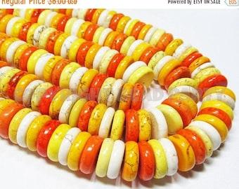 "20% OFF 8"" Gemstone STRAND - Magnesite Beads - 4x16mm Discs - Orange, Yellow, White (8"" strand - 40 beads) - str992"