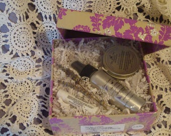 Gift Box Herbal Infused Lotion Bar with Tin, Lavender Linen & Room Spray plus Herbal Infused Lavender Lip Balm