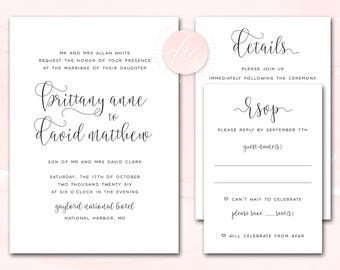Printable Wedding Invitation Suite, Wedding Invite, Print It Yourself DIY Wedding Invitations, Color Customizable   DIGITAL PRINTABLE