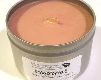Gingerbread Natural Soy Wooden Wick Candle - 6 oz