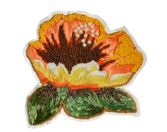 Flower applique handmade beaded hand-stitched seed beads bugle pearls chita Brazilian fabric flower patch large size