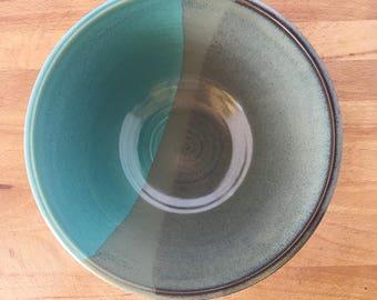 "Slate/Aqua Blue Large 9"" Handmade Bowl-- Hand made stoneware ceramic serving mixing bowl - large ceramic blue mixing bowl"