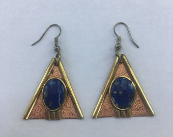 Vintage Mixed Metal Copper & Brass Lapis Lazuli Drop Earrings