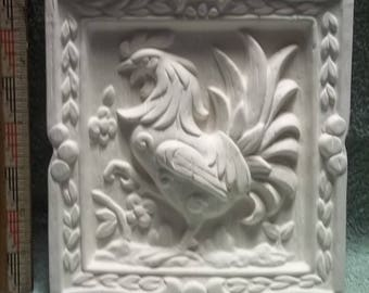 Rooster Chicken Wall Plaque  in Ceramic Bisque - Ready to Paint