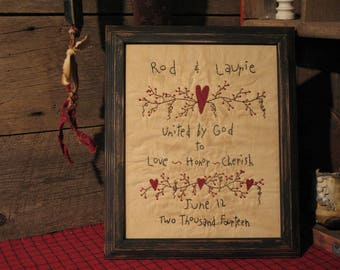 Primitive Personalized Wedding Sampler - Primitive Country Wedding Stitchery - Embroidery - Wedding Gift - Personalize Wedding