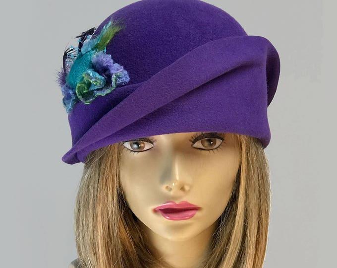 Featured listing image: Vanessa, Fur Felt Velour Cloche, millinery hat, Downton Abbey era,  Purple color, with silk cocoon embellishment