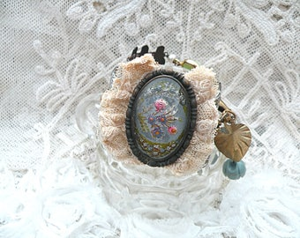 bracelet assemblage buckle goofus glass floral upcycled vintage jewelry tattered lace cottage chic