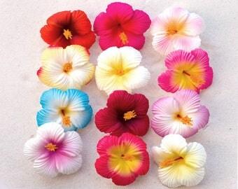 Hibiscus Hair Clips,  2 3/4 Inch, One Dozen,  Hawaiian Hair Flowers, Hibiscus Hair Flowers