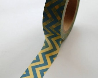 25% Off Summer Sale Washi Tape - 15mm - Blue and Yellow Chevron - Deco Paper Tape No. 390