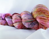 OOAK Speckled hand dyed super wash merino single sock (100 grams) 400 yds