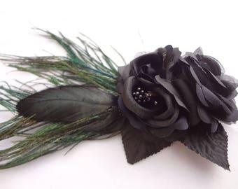 Black Rose Feather Hair Clip. Gothic Flower Hair Clip. Fancy Hair Accessories. Goth Hair Clip. Burlesque Costume Fantasy Hair clip.