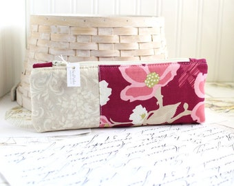 Pencil Case Magenta Floral Pencil Pouch Organizing Back to School Student