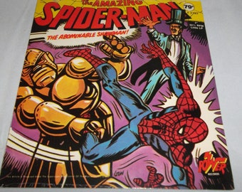 """Rare SEALED 1970's Power Records Peter Pan The Amazing SPIDERMAN """"The Abominable Showman""""  7""""  33 1/3 RPM Little Lp New"""