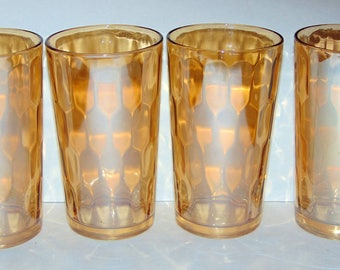 4 Jeanette Iridescent Marigold Hex Optic Honeycomb 5 inch 12 oz Tumblers Excellent