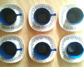 Vintage Melamine Espresso Cups and Saucers, Set of Six, Goyana Melcrome, Brazil, 1960's Mod Melmac