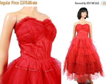 ON SALE SALE! 50s Prom Dress Xs Vintage Long Red Tiered Tulle Strapless Wedding Formal Gown Free Us Shipping