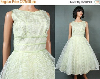 ON SALE 50s Prom Dress S Vintage White Pale Green Lace Tea Length Party Wedding Gown Free Us Shipping