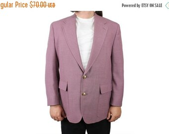 ON SALE Vintage Blazer 44R 80s Mauve Purplish Pink Mens Sports Coat Jacket Gold Button Free Us Shipping