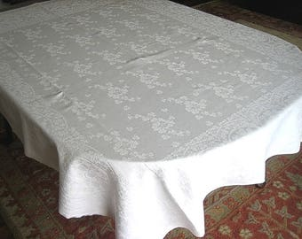 DAMASK Tablecloth Vintage Bone WHITE Slick Linen Sleek Shamrock Rings