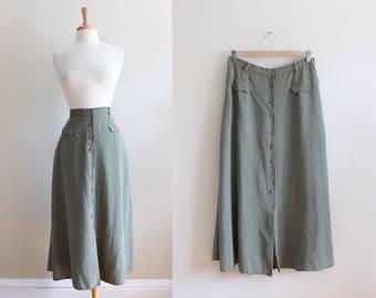 Vintage Khaki Green Silk Midi Skirt