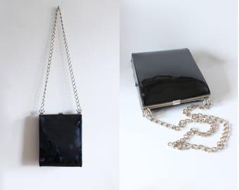 1960s Bag / Vintage Black Patent Chain Strap Bag