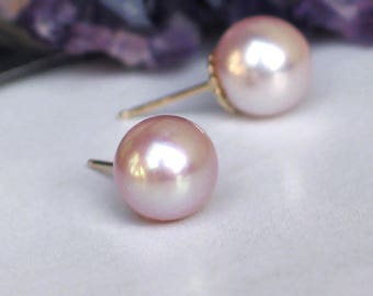 14k Gold Pearl Studs | 9mm Pastel Pink Lavender Freshwater Pearl | Yellow Gold Fluted Studs | Birthday Gift | Everyday Pearl | Ready to Ship