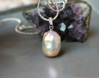 Pink Flameball Pearl Pendant Necklace | Large freshwater Baqoue Drop Pearl | CZ Bail | Sterling Silver Rope Chain | Birthday | Holiday Gift