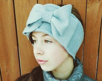 Gray Fleece Ear Warmer with Big Bow - Perfect for your Tween Girls and Women.   Winter Hat - Fleece Headband Women