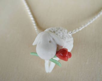 White sheep with a red rose - porcelain pendant on a sterling silver rope chain - necklace