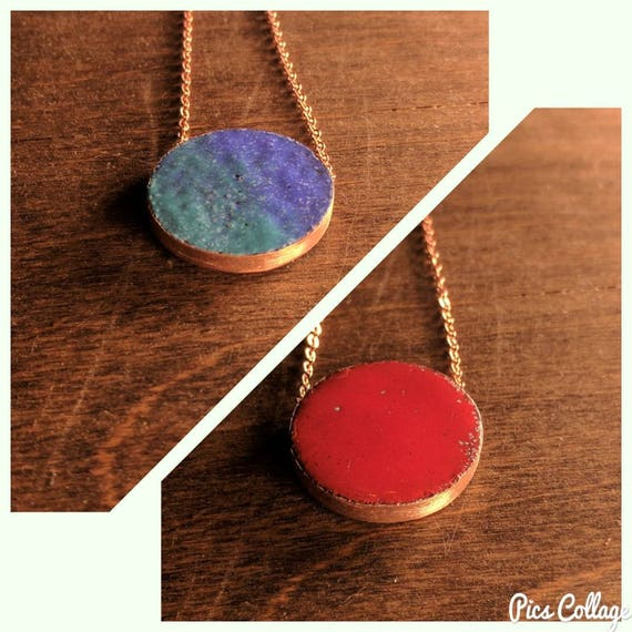 Enamel stacker- red and blue/teal