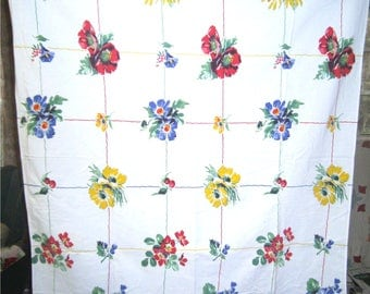 1950s PRINT KITCHEN TABLECLOTH - Summer Floral