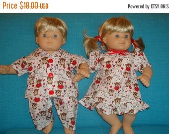 "ON SALE 15 Inch Doll Clothes/Teddy Bear Hugs/Gown and Pajamas/3 piece set made to fit 15"" Bitty Baby Twin Dolls/READY To Ship"